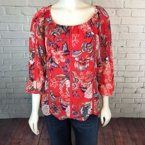 Sara Michelle Floral Hi Lo Blouse Top Red Small
